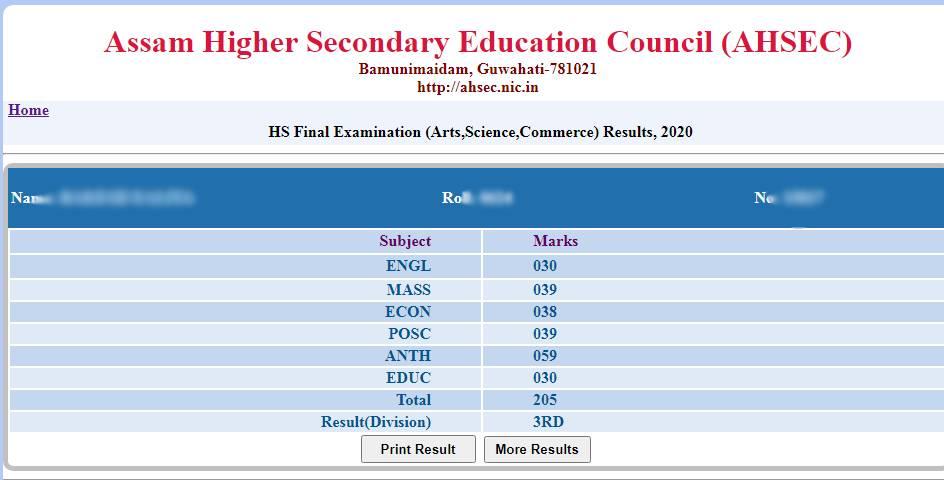 Assam HS exam result 2020