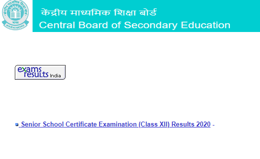 CBSE 12th result 2020 website