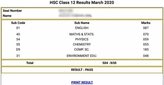 mahresult.nic.in 2020 HSC marksheet