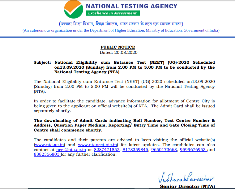 Neet 2020 Latest News Result Today Final Answer Key Cutoff Score Card
