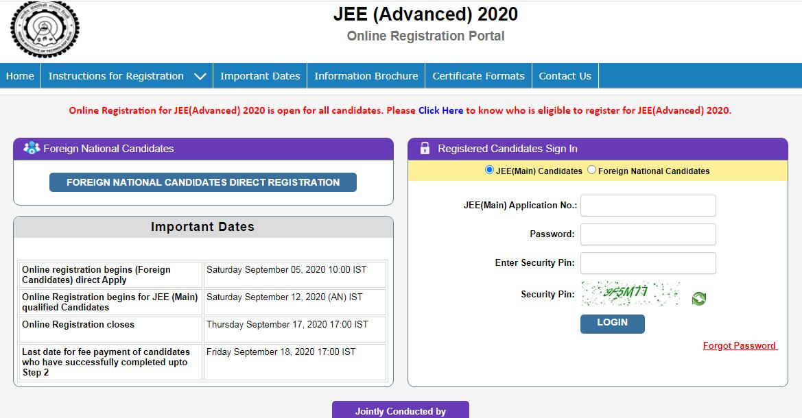 jee-advanced-registration-window