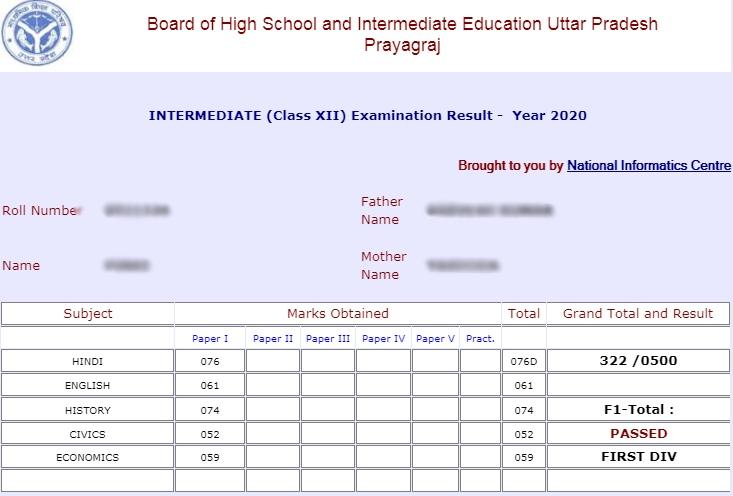mark sheet of UP board 12th result