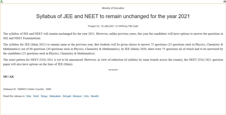 NEET 2021 Syllabus notification