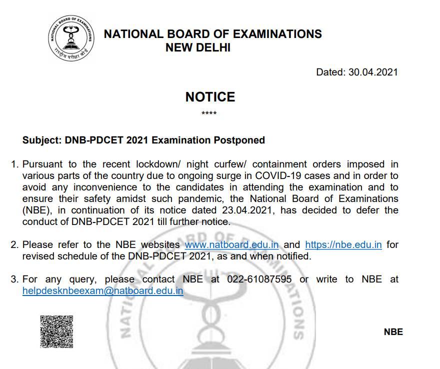 dnb-pdcet-postponed
