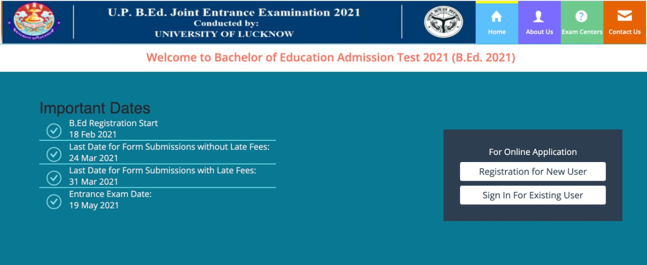 UP JEE BEd 2021 candidate login page