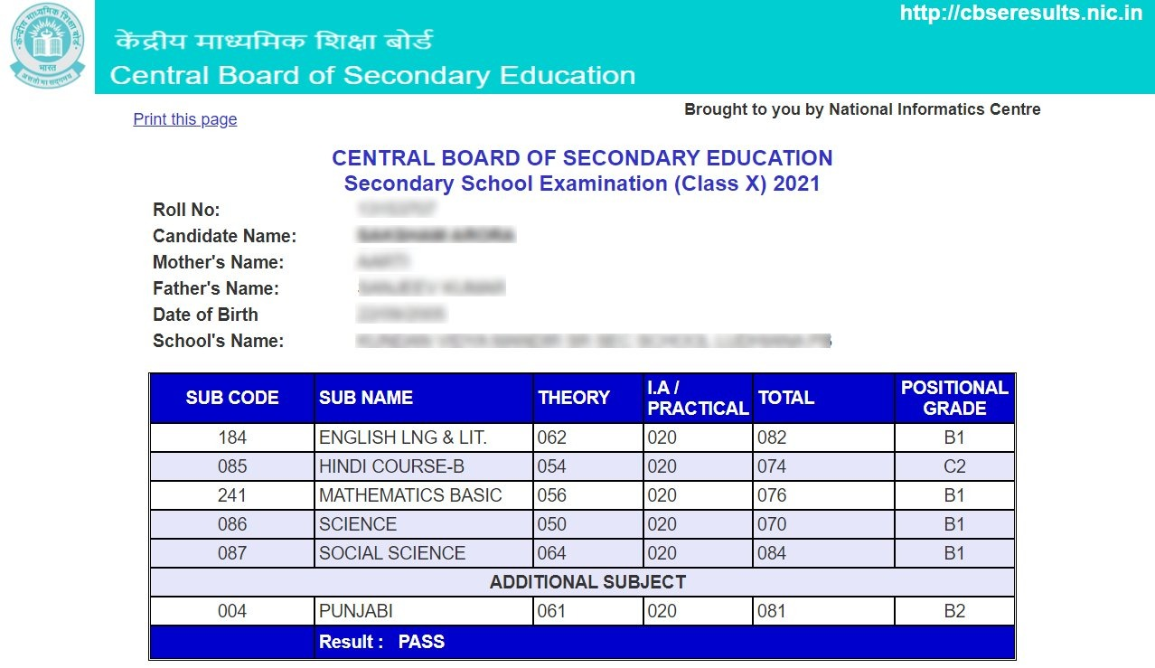 cbse class 10 result 2021