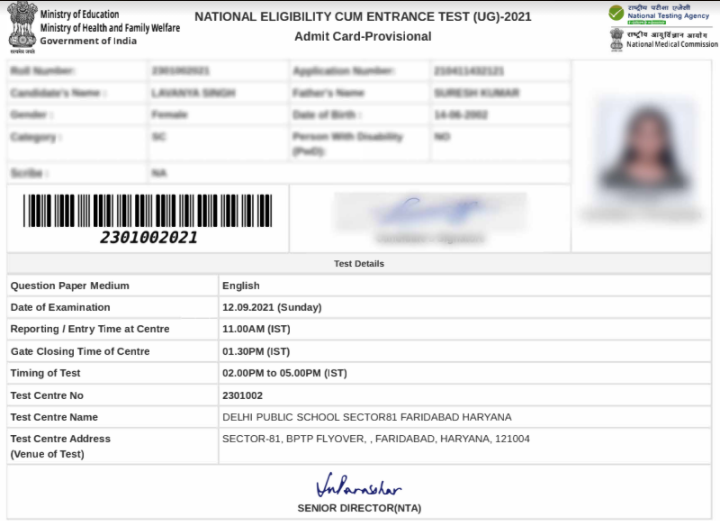 neet.nta.nic.in admit card 2021
