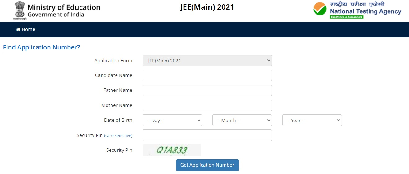 JEE Main 2021 Forget Application Number Window