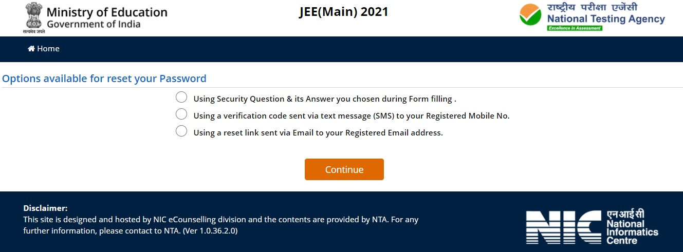 JEE Main 2021 Forget Password Window