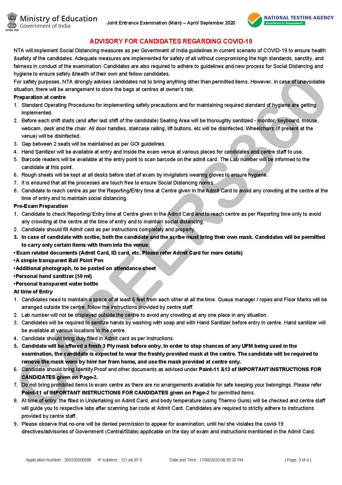 JEE Main 2020 Exam Guidelines-2