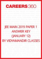 JEE Main 2019 Paper 1 Answer Key by Vidyamandir Classes (January 12)