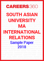 South Asian University MA International Relations Sample Paper 2018