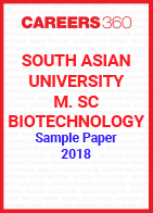 South Asian University M. Sc. Biotechnology Sample Paper 2018