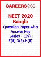 NEET 2020 Bangla Question Paper with Answer Key E5, F5, G5, H5