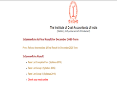 ICMAI Declares Results For Certified Management Accounting Exams
