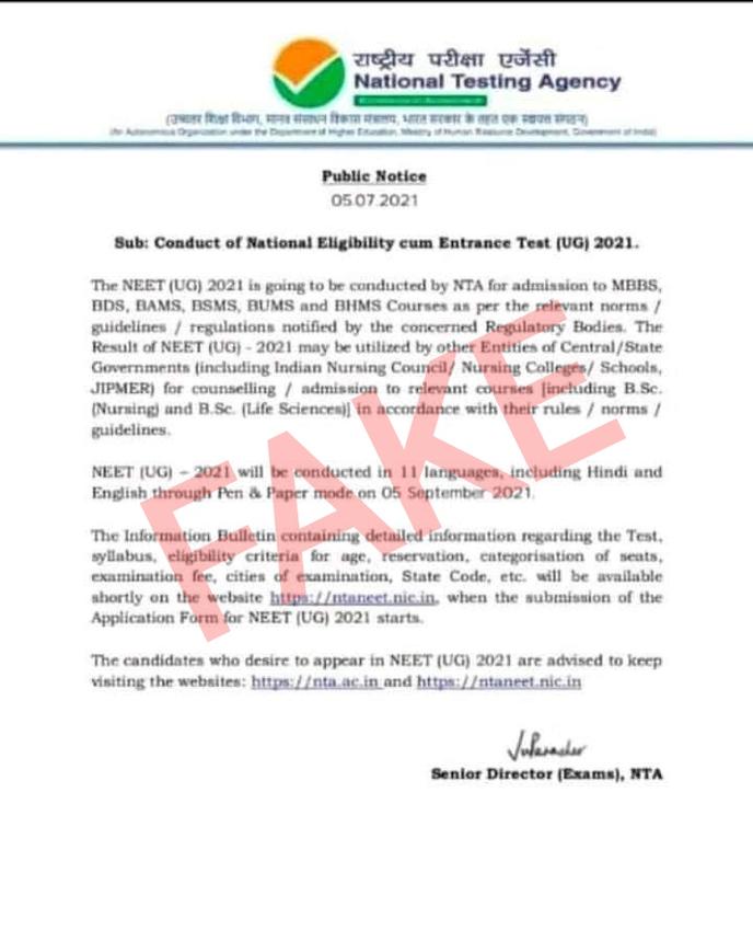 Fake-NEET-2021-exam-dates-notice