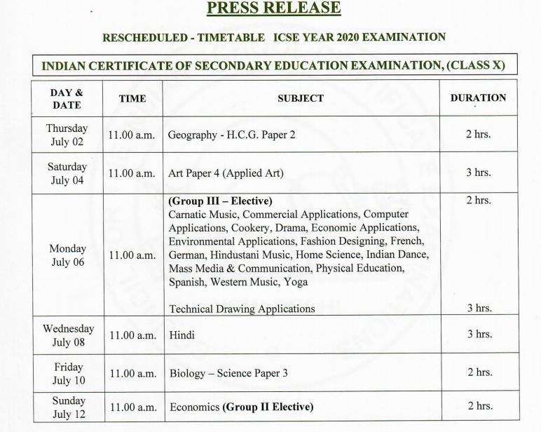 ICSE-Class10-timetable