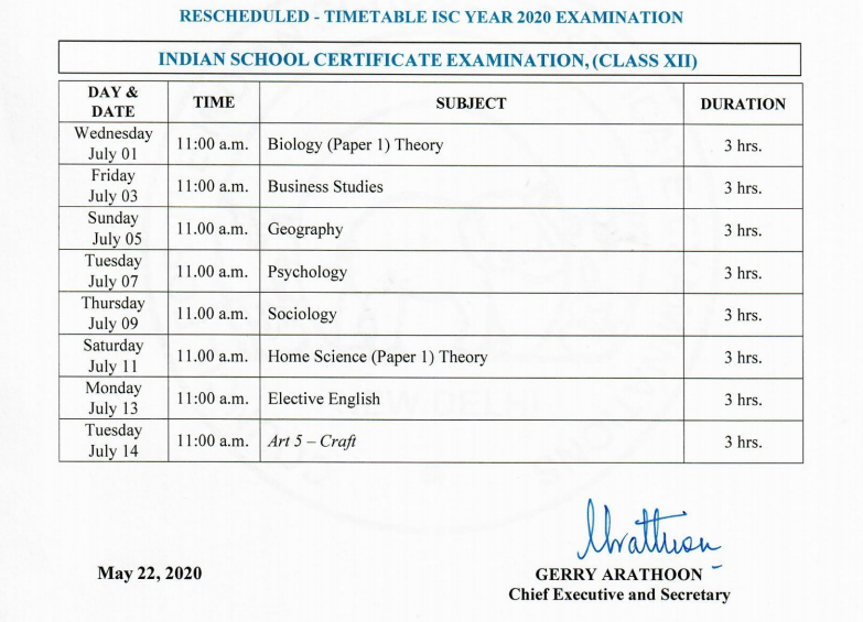 ISC-Class12-timetable
