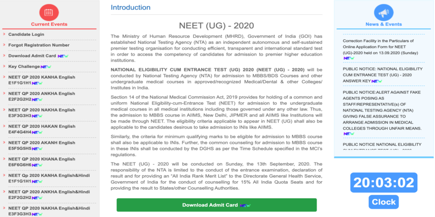 Neet Result 2020 Question Papers Released At Ntaneet Nic In Direct Link Here