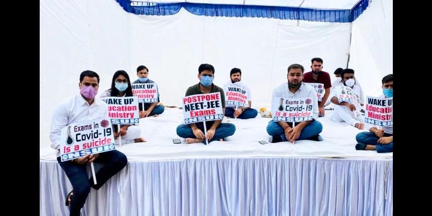 NSUI members begin hunger strike demanding postponement of NEET-JEE