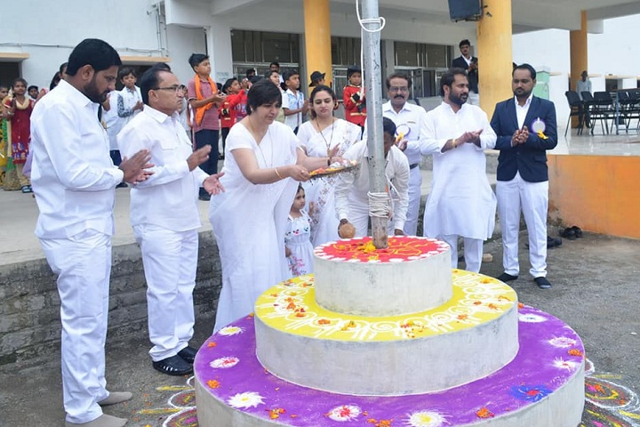 Adv Lalita Patil International School-Flag Hoisting