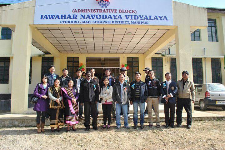 Jawahar Navodaya Vidyalaya-Campus-View Front With Staff