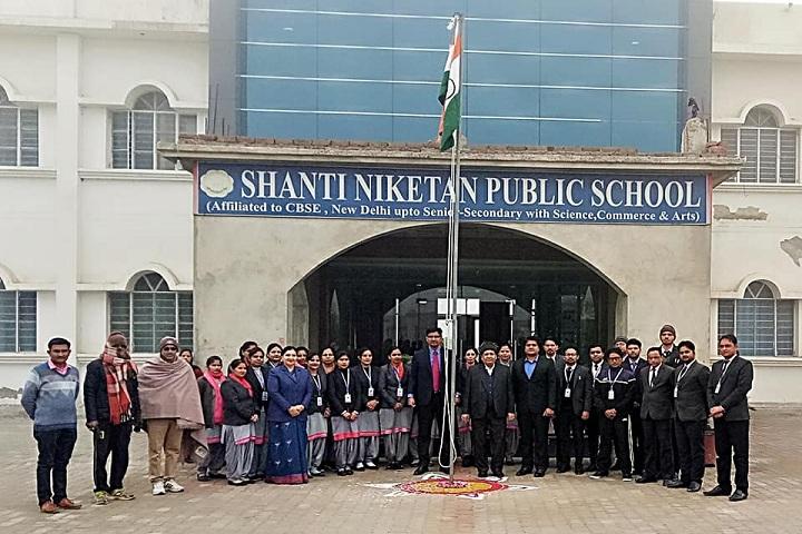Shanti Niketan Public School-Campus-View front with republic day celebration