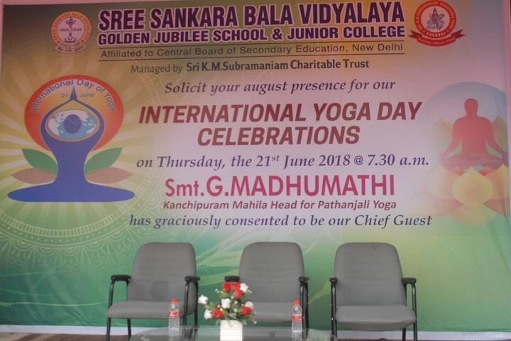 Sree Sankara Bala Vidyalaya Golden Jubilee School-Yoga day