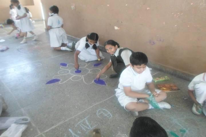 Rishi Public School-Rangoli Competition