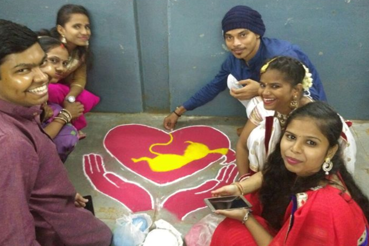 Pal Dharmendra Hindi High School-Rangoli Event