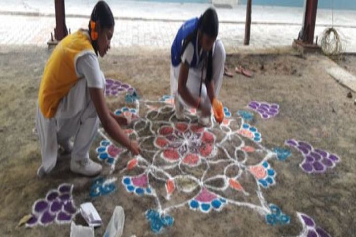 Annai Veilankannis Matric Higher Secondary School-Rangoli