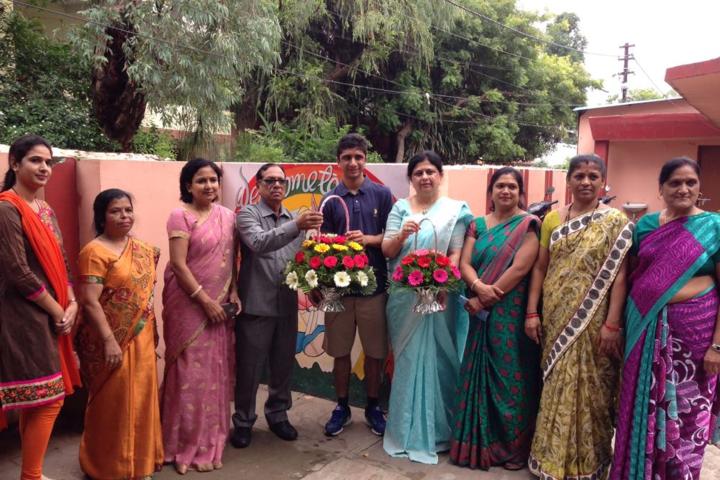 Renu Vidya Peeth Higher Secondary School-Welcoming of Cheif Guest