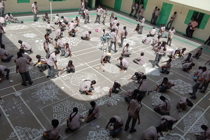 GRG Matriculation Higher Secondary School-Rangoli Competition