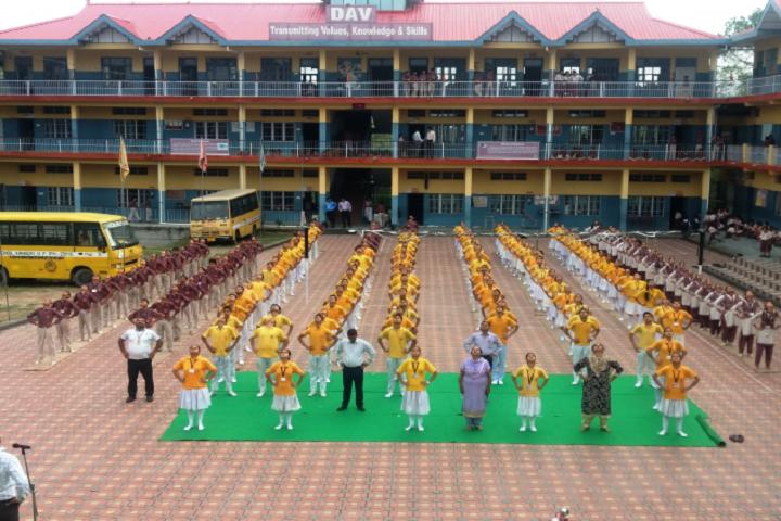 TRDAV Public Senior Secondary School-Campus-View front with yoga