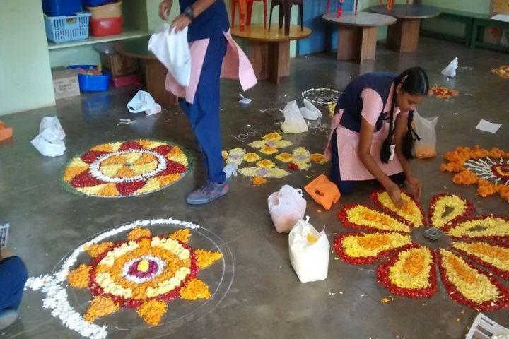 Vidyavardhaka Sangha B M Sri Educational Institutions-Rangoli Competition